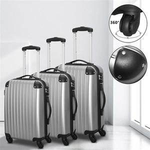 20 '' 24 '' 28 '' Gepäcksätze Hardside Spinner Lightweight Travel Bag ABS Trolley Spinner Koffer mit TSA Lock Silbergrau Set von 3
