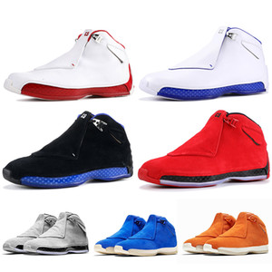 Fashion Luxury Jumpman 18s Basketball Shoes Suede Toro Bred Defining Moments OG ASG Black Royal Black White Blue Mens Trainers Sneakers