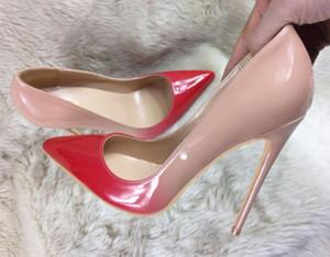 rot Nude Allmähliche Veränderung Feine Ferse Höcker Damen roter Boden hochhackige Schuhe Flacher Mund Hochzeit Lackleder 12cm 10cm 8cm Größe 44