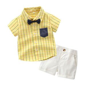 Baby boys Bows tie lapel single breasted short sleeve stripe shirt+double pocket shorts 2pcs sets toddler kids performance clothes F6841