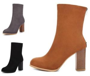 Зимние женщины моды сапоги новые на высоком каблуке женщин загрузиться заостренные ботильоны эластичная замша Мартин ботинок