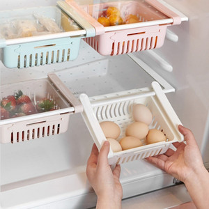 Kitchen Adjustable Stretchable Refrigerator Organizer Drawer Basket Refrigerator Drawers Pull-out Fresh Spacer Layer Storage Rack Box Holder