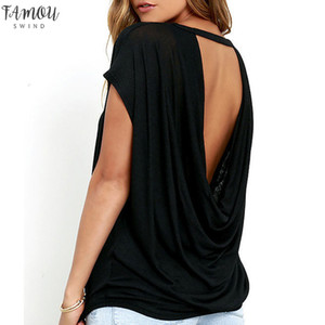 Mujeres de la venta caliente ocasional sin respaldo de manga corta de verano flojo del cuello de O remata tes Negro Blanco espalda abierta camiseta