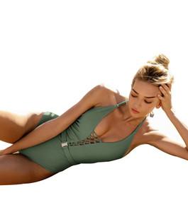 New Fashion Women Sexy Bandage Belt Buckle Solid Style One Piece Bikini Set Hot Ladies Swimsuit Beach Swimwear Seaside Swimdress