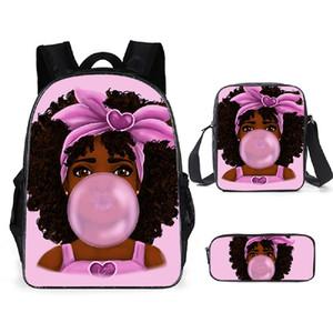 Lady menina Africano FORUDESIGNS Crianças Backpack For Kids Impressão Bolsa Escola adolescentes Shoulder Zipper Schoolbag Bag Lápis 3PCS / Set