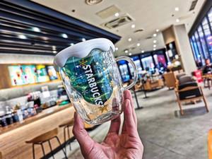 Authentique souhait Starbucks Star arbre de Noël tasse en verre transparent tasse à café 3D double isolation sur dooor tasse en voiture 300ml