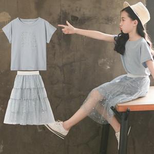 3t-12t Girl's Set T-shirt+skirt Short Sleeve Summer Kids 2pcs Set Fashion Casual Children Skirt Suits