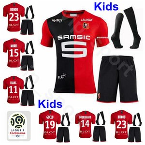 Bambini Calcio junior Stade Rennais Gioventù NIANG Jersey Socks Set HUNOU RAPHINHA MAOUASSA TRAORE Bourigeaud MENDY Football Shirt Kit