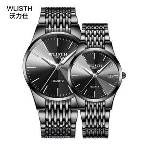 Wlisth 시계 남성 Homebred 손목 시계 석영 운동은 방수 시계 남성 패션 커플이다