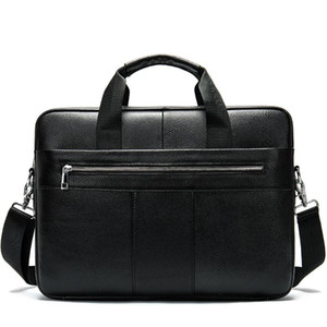 2020 New Fashion Cowhide Male Commercial Briefcase Leather vintage men's messenger bag casual Natural Cowskin Business bag