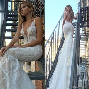 Sexy New Couture Mermaid Brautkleid 2020 V-Ausschnitt Backless Vestidos De Novia Spitze ausgestattet Brautkleider