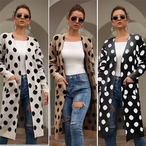 Frauen-Entwerfer-Tupfen-Jacken-Frühlings-Herbst-Entwerfer-weiblicher V-Ausschnitts-Mantel-beiläufige lange Hülsen-Damen-Kleidung mit Tasche