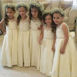 Sweety Princess Country Full Lace 2020 A Line Flower Girl Dresses Jewel sleeveless Zipper Beaded Collar Empire Long girls Communion Dresses
