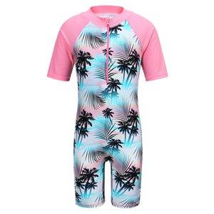 Baohulu Kısa Kollu Kız Mayo 2-11 yaşında çocuklar Plaj Yüzme Suit UPF50 + için One Piece Çocuk Mayo Kız Döküntü Guard