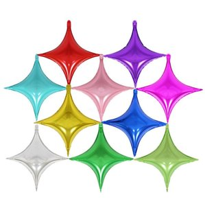Caliente hermoso regalos de boda de cuatro puntas aluminio de la capa globos Juguetes para niños fiesta de cumpleaños Happy Star decoraciones de envío