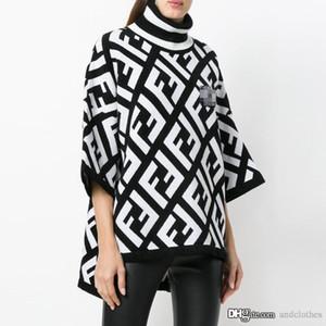 2019 새로운 디자인 여자의 스웨터 가을 컬러 블록 더블 편지 인쇄 터틀넥 긴 소매 니트 여성 디자이너 명품 옷