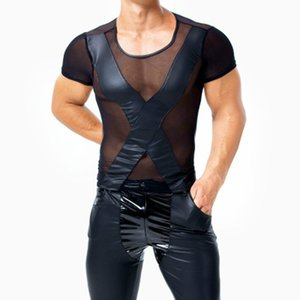 Homens góticos Sheer Mesh Tops Sexy Preto Faux Leather Tee Splicing See Through T-Shirt Boate Pole Dancing Underwear respirável