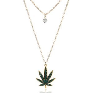 Mode Halsketten Mehrschichtige Kristall Ahornblatt Anhänger Halskette Vergoldet Dunkelgrün Zucker Ahornblatt Anhänger Kette Schmuck für Frau