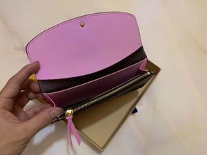 원래 상자 고급 지갑 가죽 여러 가지 빛깔의 동전 지갑 긴 지갑 카드 홀더 여성 클래식 지퍼 포켓