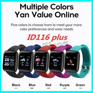 Nuovo arrivo ID116 PLUS Braccialetto intelligente con frequenza cardiaca Smart Watch Fitness Tracker Polsino per la pressione sanguigna PK ID115 più M3 M4 115plus