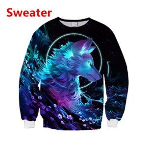 Hip Hop Sportwear Punk Casual Loose Men Cool Print Galaxy Space Wolf 3d Sweatshirt