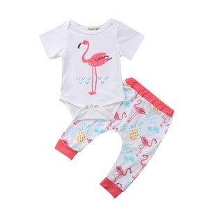 Emmababy Anzüge Neugeborenes Baby Kurzarmshirts Bodysuit-Overall-lange Hosen Cotton 2Pcs Outfits Kleidung 3-18M