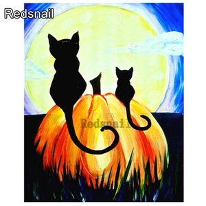 Halloween Full Square Diamond Painting Cat Cross Stitch Picture Of Rhinestones New Diamond Embroidery 2020 Home Decoration TT609