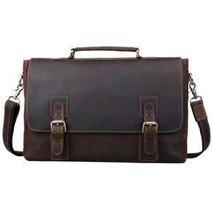 Evrak Erkekler 16 '' Laptop Çanta Büyük Vintage inek derisi Deri Satchel Messenger Çanta Omuz Çantası Kahverengi 8069