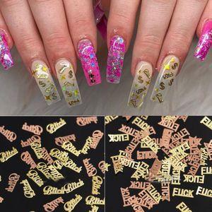 1000pcs / paquete de las mariposas del oro perra Fcuk metálico de uñas Lentejuelas Flakes ultrafina para uñas de acrílico decoración del arte