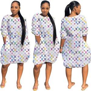 무료 배송 2020 여름 여성 패션 인쇄 크루 넥 튜닉 드레스 캐주얼 느슨한 무릎 길이 드레스 XXL