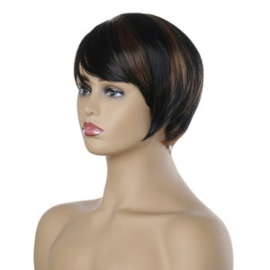 Hot fashion Women's Short wigs Realistic natural fringe short hair Wigs Lace cap comfortable head Short black and brown hair wig-086