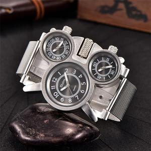 Oulm Multiple Time Zone Uhr-Mann-Mesh-Stahlband Legierung Fall drei verschiedene Zeitsportuhr Mann-Armbanduhr