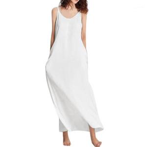 Pure Color Mujer vestido de las mujeres sin mangas con cuello redondo vestidos ocasionales sólidas de las señoras de fiesta del diseñador de moda ropa de verano