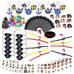 84pcs браслет Пиратская партия украшения татуировки пират девушки день рождения сувениры для детей Мальчик Anniversaire Eye Patch