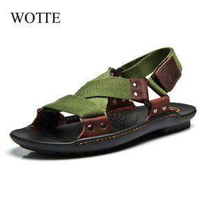 WOTTE Sandals Men Shoes 2020 Mens Sandals Fashion Men Shoes Summer Flip Flops Black Flat Size 36-44 chanclas hombre