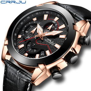 CRRJU Mens Watches Top Brand Luxury Leather Chronograph Watch Men's Wristwatches Clock Watch Men Waterproof Luxury Mens Watches