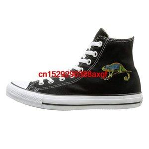 Unisex Günlük Ayakkabılar Erkekler ve Kızlar Spor Ayakkabıları Bukalemun Tuval Ayakkabı Yüksek Top Sport Siyah Sneakers Unisex Stil