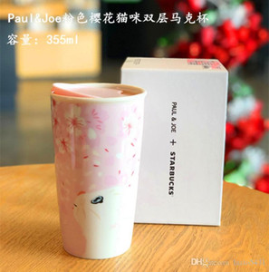 Starbucks PAUL JOE Joint Sakura Cat coffee cup Pink Double Isolation ceramics Mug Accompanying cup out dooor in-car mug 355ML