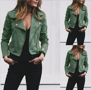 Fashion-Autumn Women Lapel Neck Jackets Fashion Zipper Fly Coats Casual Solid Color women Outerwear With Button