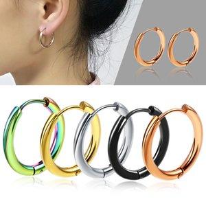 1 par HotUnisex Círculo Redondo Ear Ear Pendiente de Hebilla 8mm / 10mm / 12mm 14mm / 16mm / 18mm / 20mmBlack Pendiente de Titanio Acero Hombres Mujeres Joyería