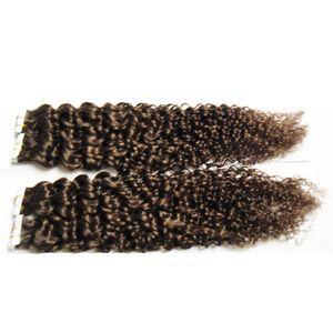 Bande En Extensions de Cheveux Humains 40pcs Européen Crépus Cheveux Bouclés Machine Fait Cheveux Remy Sur Adhésifs Bande PU Peau Trame Invisible 100g