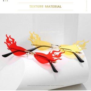 FireWave güneş gözlüğü Moda Yangın Dalga Alev Güneş gözlüğü Kadınlar Erkekler Çerçevesiz Güneş Gözlük Gözlük Lüks Eğilimleri Geniş Yan Parti NncWU bdehome E