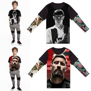T-Shirt 3d schönes Tattoo Druck große Kinder-Fußballstar-T-Shirts Baby-Jungen kreatives T-Shirt 2-14Y Kinderkleidung Baumwolle tops T200103