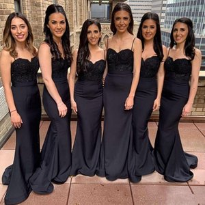 2020 Charming Black Spaghetti Girl Mermaid Bridesmaid Dress Sexy Lace Appliqued Wedding Guest Gown Cheap Prom Evening Maid Of Honor Dress