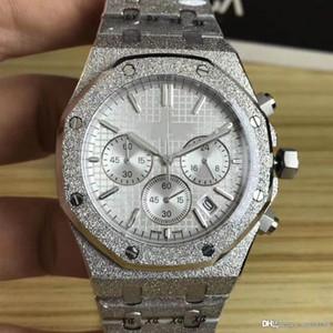 encinas reales superior de lujo de los hombres 6 de aguja banda de reloj caja de acero inoxidable multi-función de reloj de cuarzo tiempo VK 41 mm vendió bien