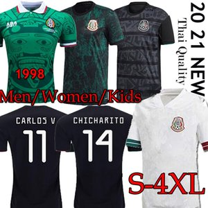 TOP Meksika'nın Retro futbol forması 1998 Camisetas 20 21 Chicharito LOZANO DOS SANTOS 2020 formalarını Erkekler + Çocuk kiti üniformaları Maillots S-4XL