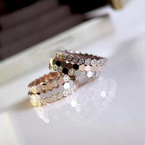 패션 보석 순수 925 스털링 실버 주얼리 꿀벌 연인 반지은 결혼 반지 약혼 최고 품질 웨이브 꿀벌 반지