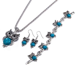 Retro owl Necklaces Earring Bracelets Jewelry Set Zinc Alloy Cute Animal Series Three-piece Blingbling Pendant Party Decorations POTALA015
