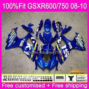 Впрыск Для SUZUKI GSXR 600 750 08 GSXR-750 GSXR600 08 09 10 7HM.0 GSXR-600 K8 GSX R750 R600 GSXR750 2008 2009 2010 Обтекатель фабрика синий