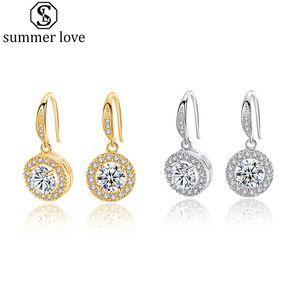 Klassische Zirkonia Halo Lever Tropfen Ohrringe Gold Silve Farbe Ohrhaken für Frauen Designer-Band-Ohrringe-Z
